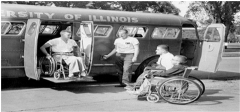 The first fixed-routine buses with wheelchair lifts
